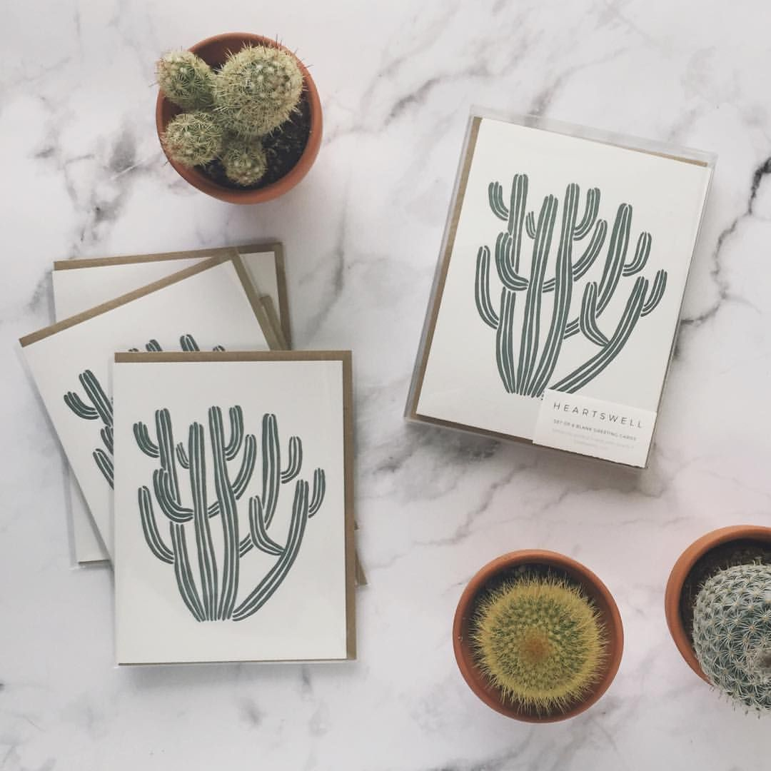 Cactus // letterpress cactus card set // heartswell