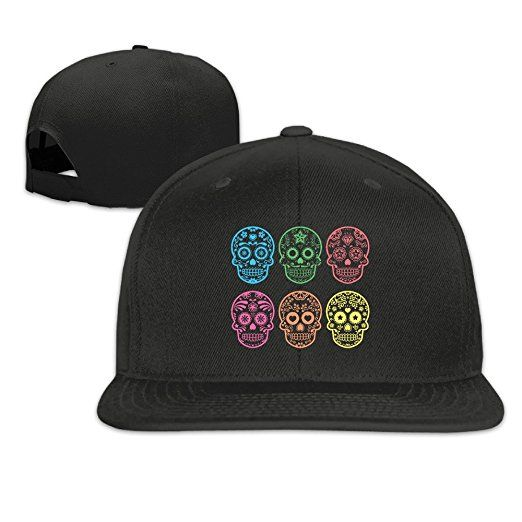 c9211a6ba44 Unisex Mexican Sugar Skull Adjustable Snapback Hat Sports Cap at Amazon  Men s Clothing store