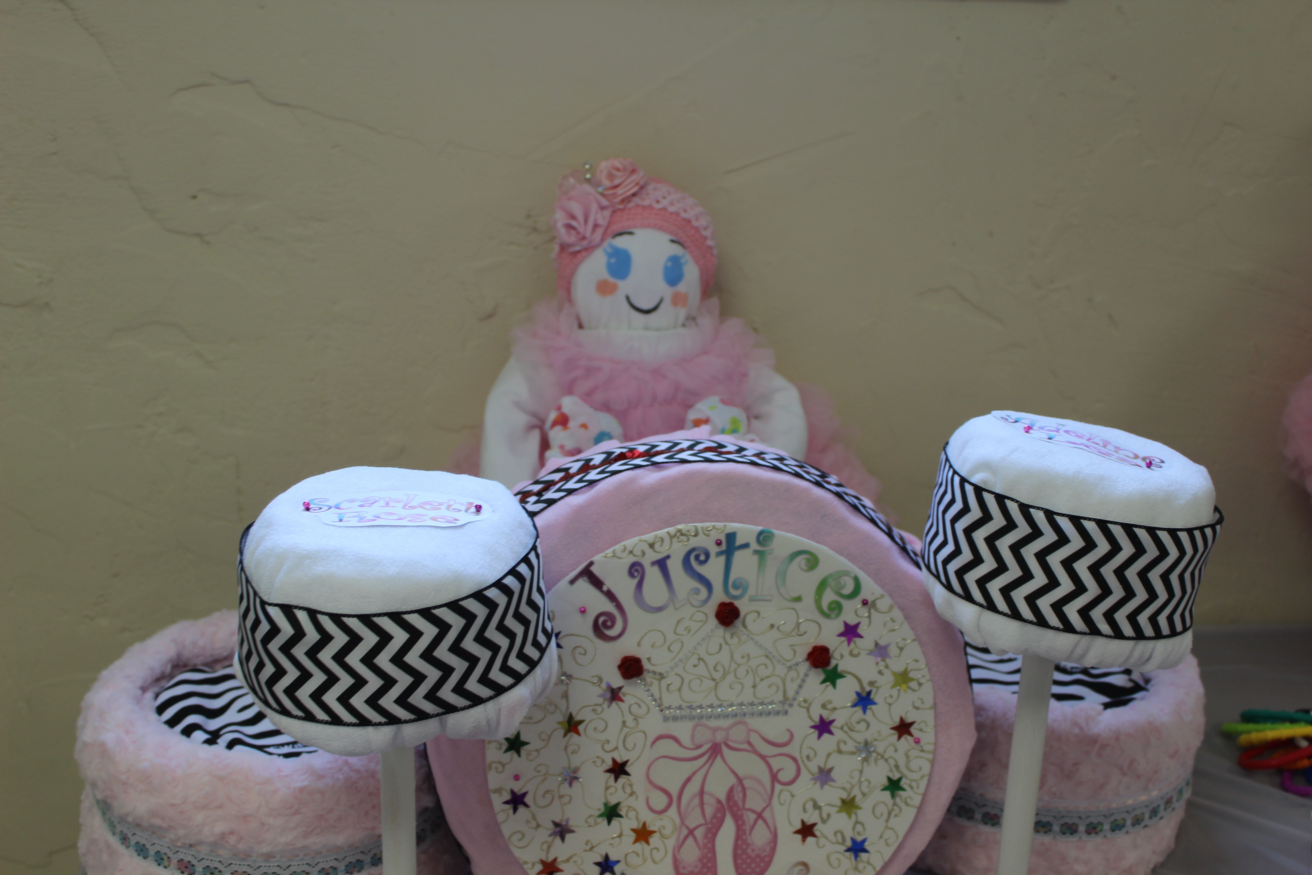 Closeup on the girl drum diaper cake for baby shower