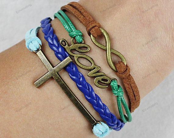 infinite love bracelets leather bracelets cross by lifesunshine, $7.99
