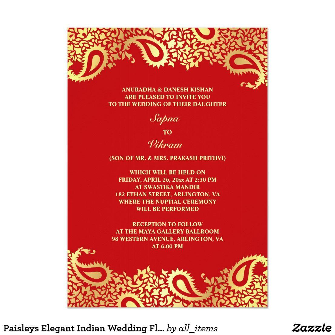 Paisleys Elegant Indian Wedding Flat Invitation | Wedding flats ...