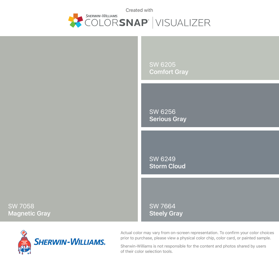 Sherwin williams paint colors sherwin williams 6249 storm cloud - I Found These Colors With Colorsnap Visualizer For Iphone By Sherwin Williams Magnetic Gray Sw Comfort Gray Sw Serious Gray Sw Storm Cloud Sw Steely