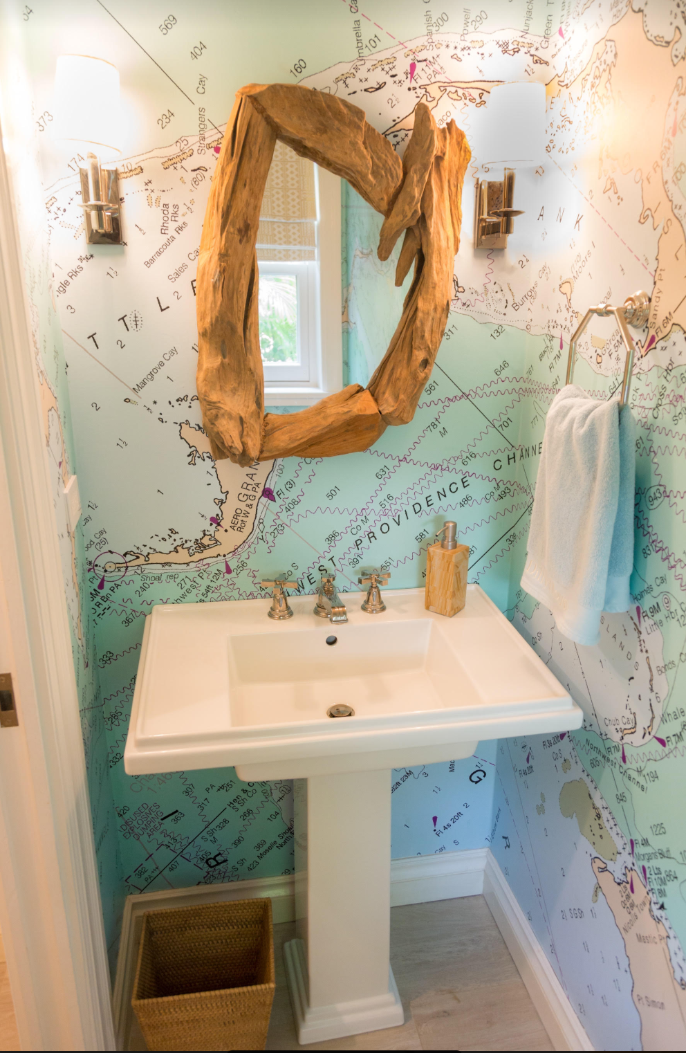 Photo of driftwood mirror,nautical wallpaper, bathroom decor, coastal bathroom decor, coastal decor — Nautical Chart Wallpaper