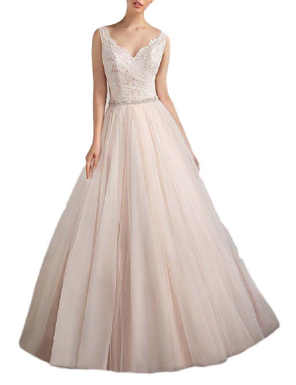 Lace v neck wedding dress  RomanLisa Womenus Lace Wedding Dress Vneck Floor Length Beaded