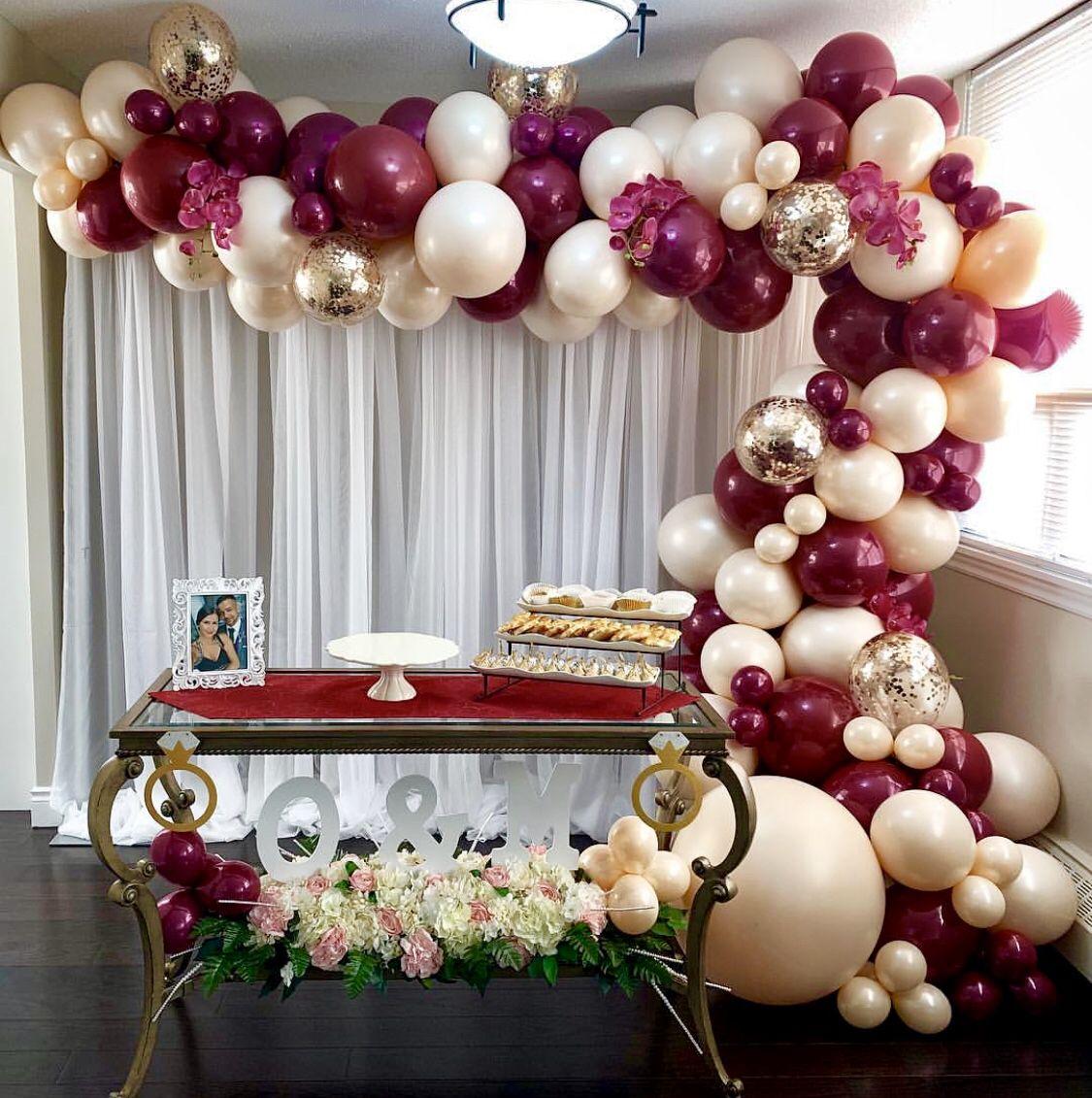 Burgundy And Peach Balloon Garland Gold Confetti Balloons Blush Balloons Balloon Garland