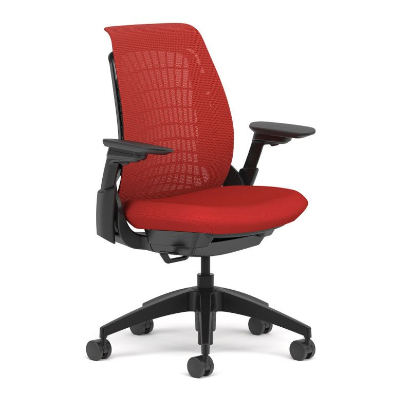 Allsteel mimeo chair shown in cherry mesh with 4d arms