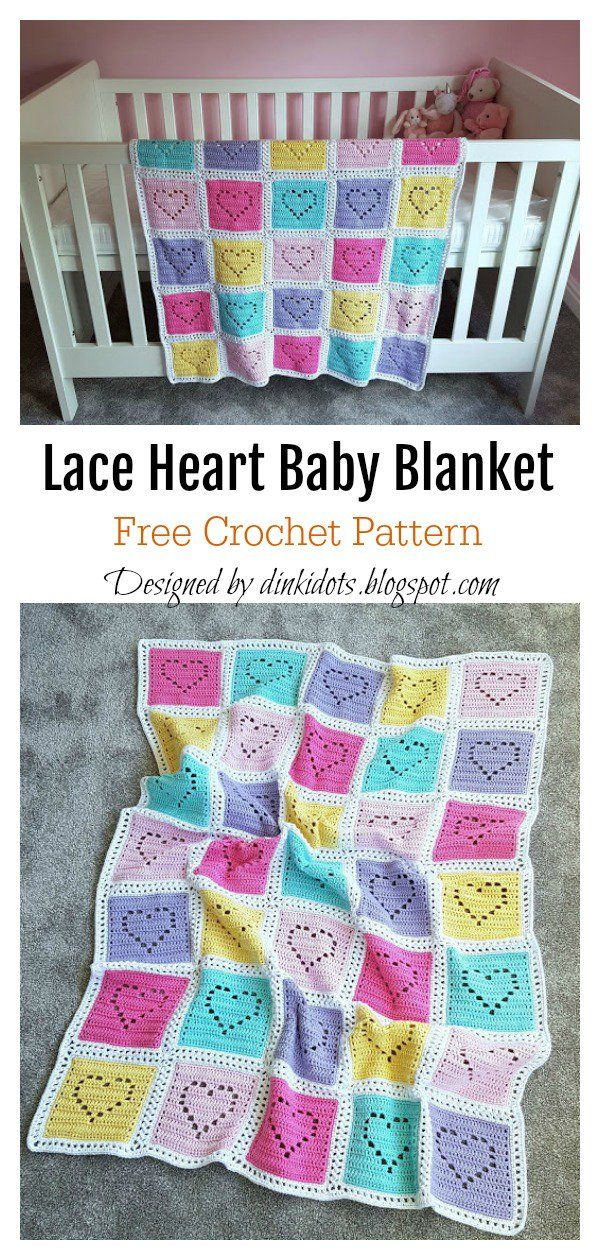 Lace Heart Baby Blanket Crochet Pattern #babyblanket