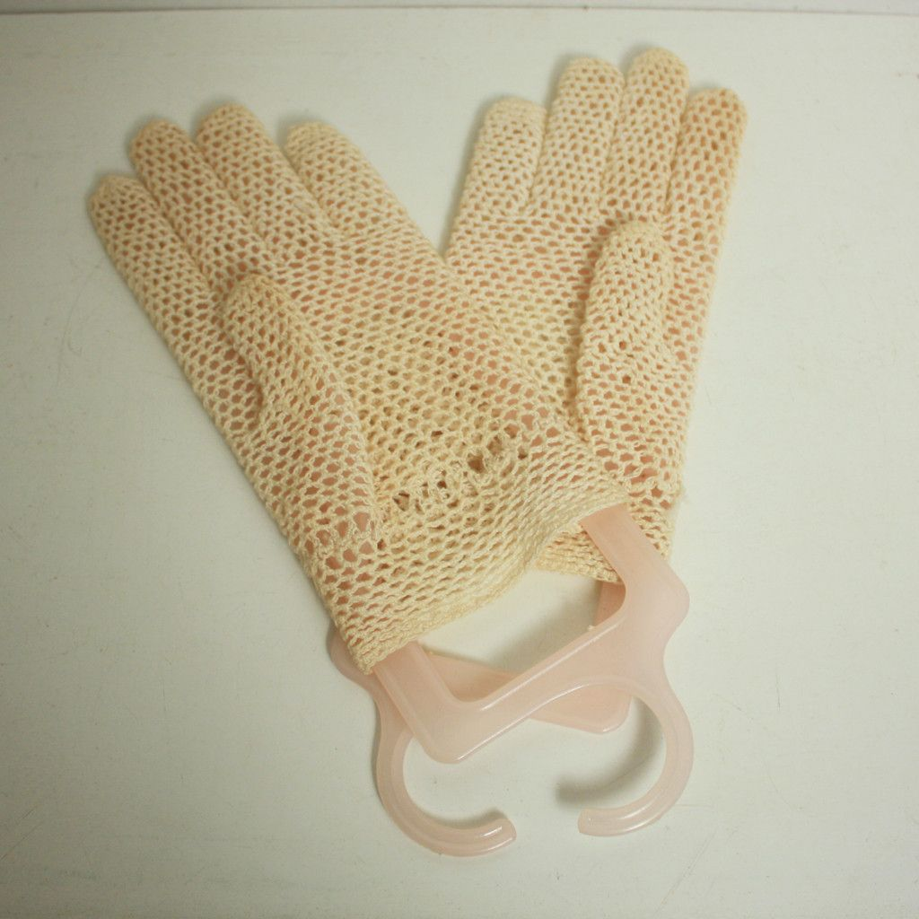 Ladies Vintage Cotton Crochet Ecru Beige Gloves