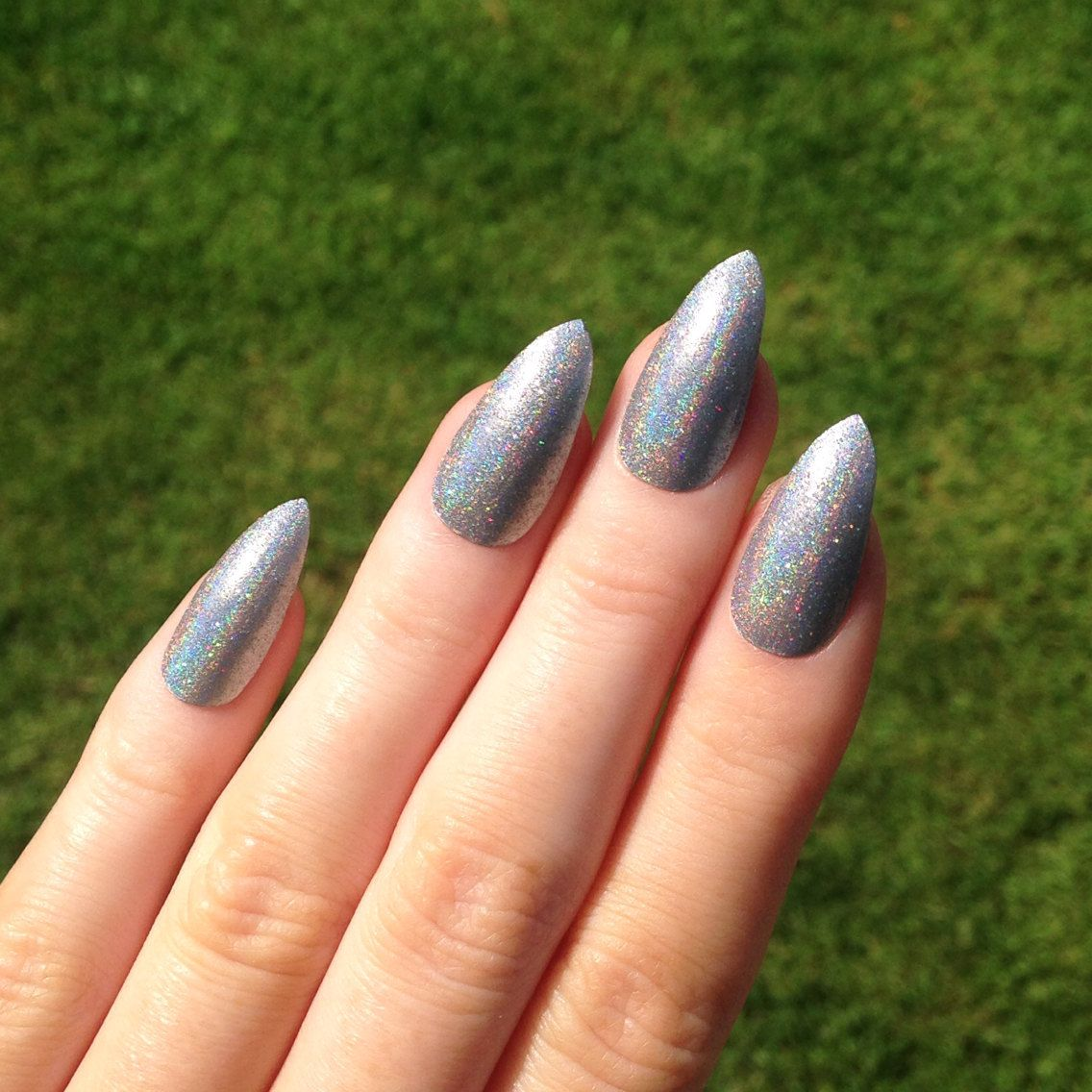 20 Nail Polish Available On Etsy Com Silver Acrylic Nails Fake Nails Pointy Nails