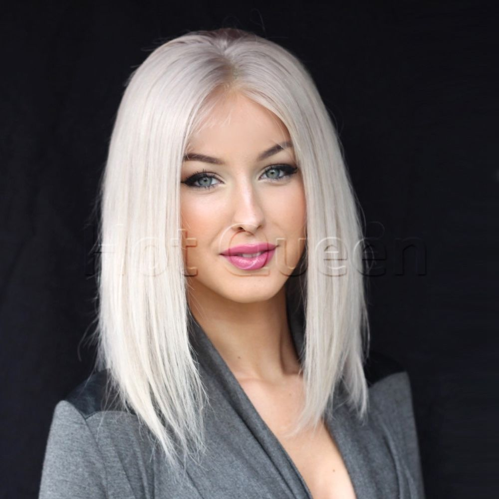Details About Hot Platinum Blonde Brazilian Human Hair Wigs Remy