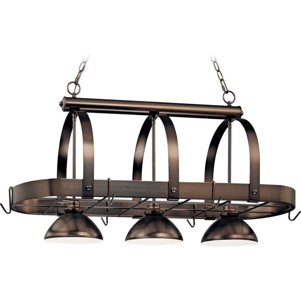 Volume Lighting 3 Light Antique Bronze Pot Rack Pendant Products