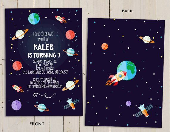 Planet Birthday Invitation Outer Space Theme