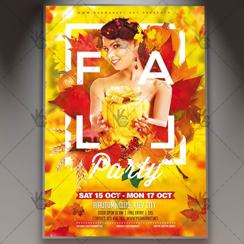 Fall Party - Autumn Flyer PSD Template #autumn #fall - fall flyer