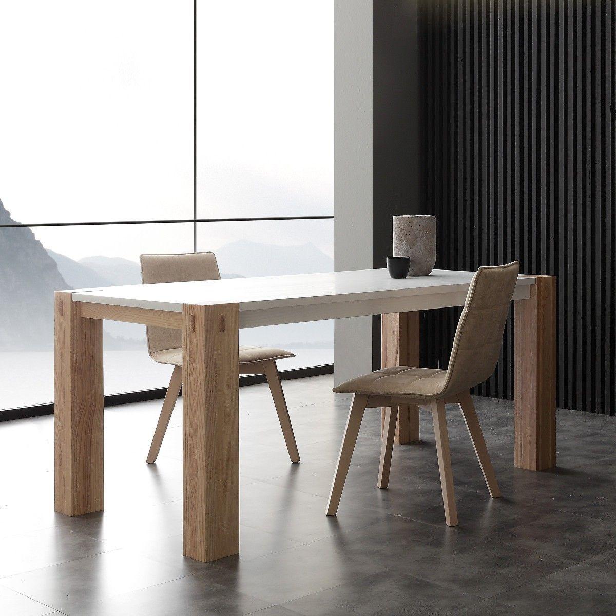 Tavolo allungabile in legno massello laccato bianco Woods