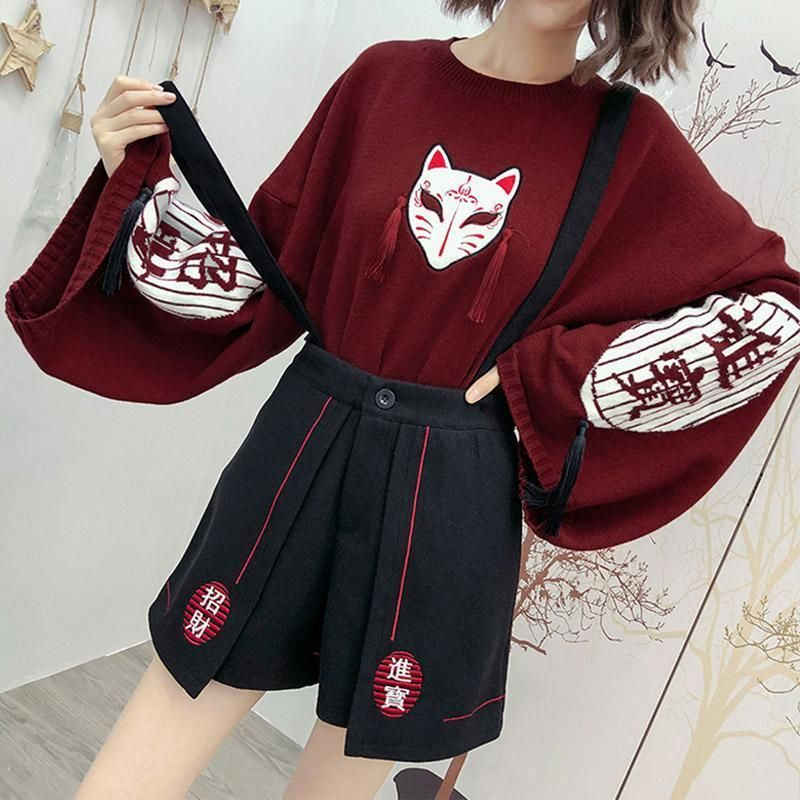 Cartoon Fox Embroidery Tassels Sweater Pullover