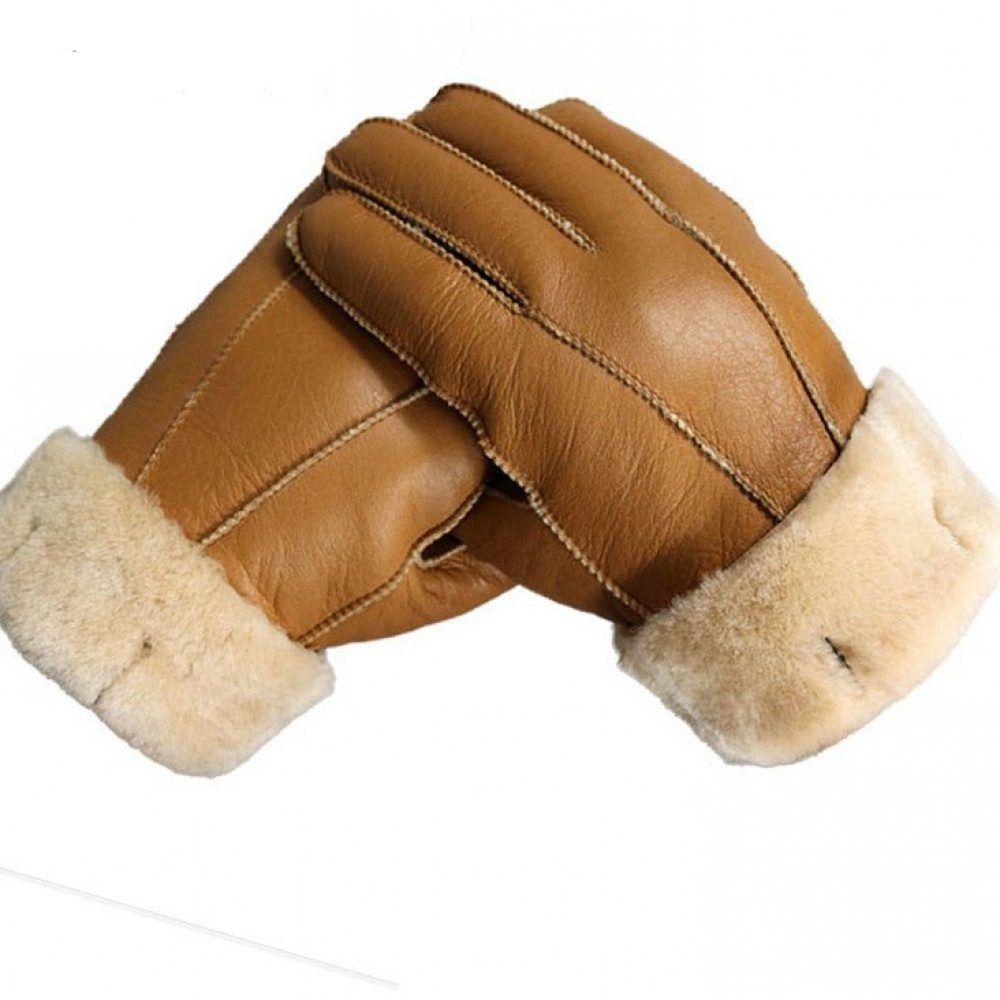 Men/'s Winter Warm Sheepskin Gloves Genuine Leather Outdoor Thick Thermal Mittens