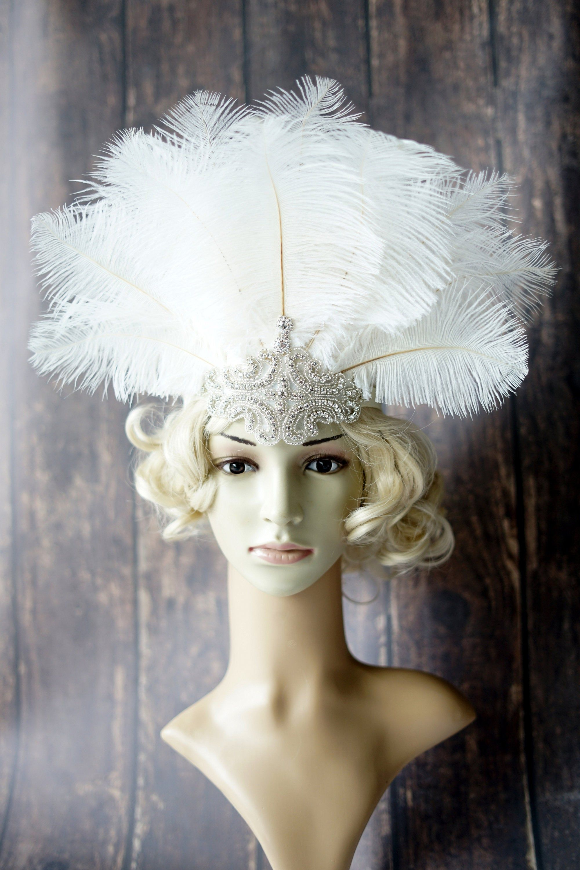 Vintage 1920/'s Style Gatsby Flapper Feather Headband Headpiece Designer Handmade