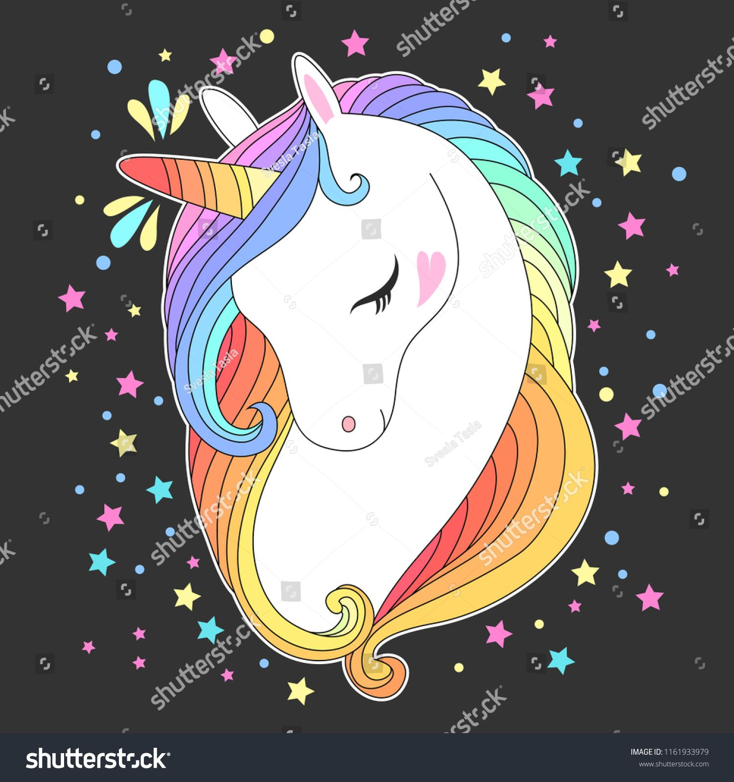 Unicorn Head With Rainbow Hair And Stars Cute Fashion Kids Print