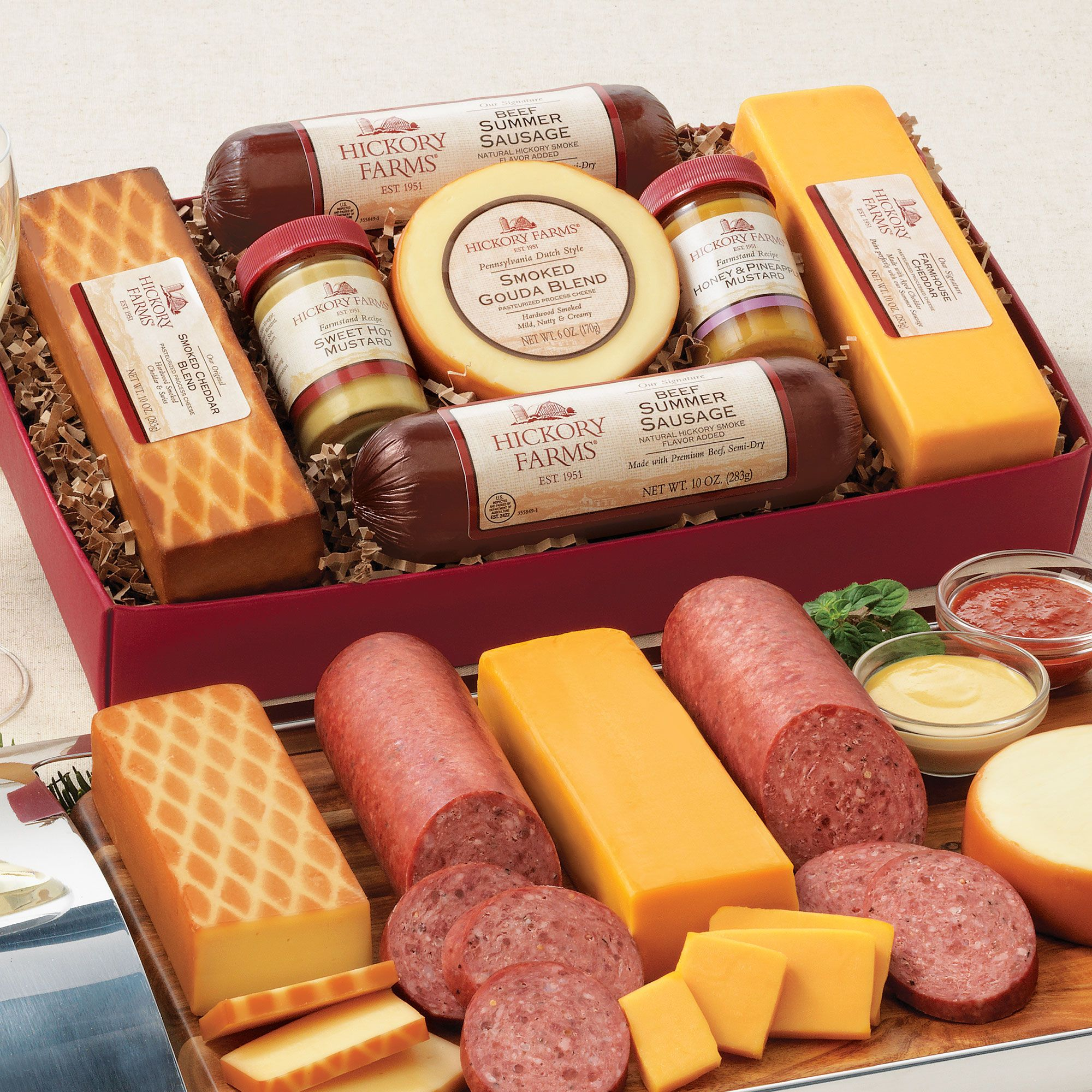 Summer Sausage & Cheese Gift Box Cheese gifts, Cheese