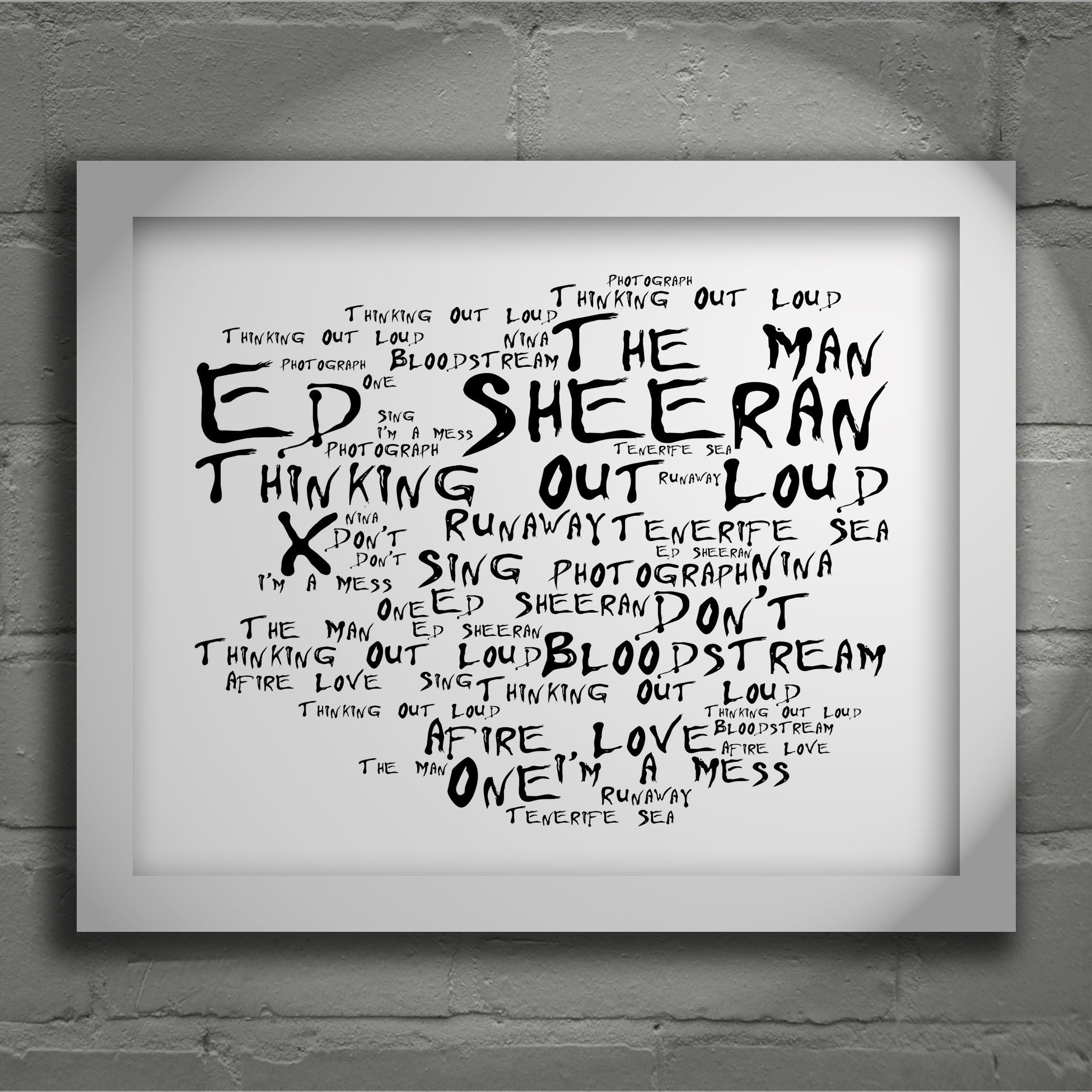 Ed Sheeran X Limited Edition Typography Lyrics Art Print Signed