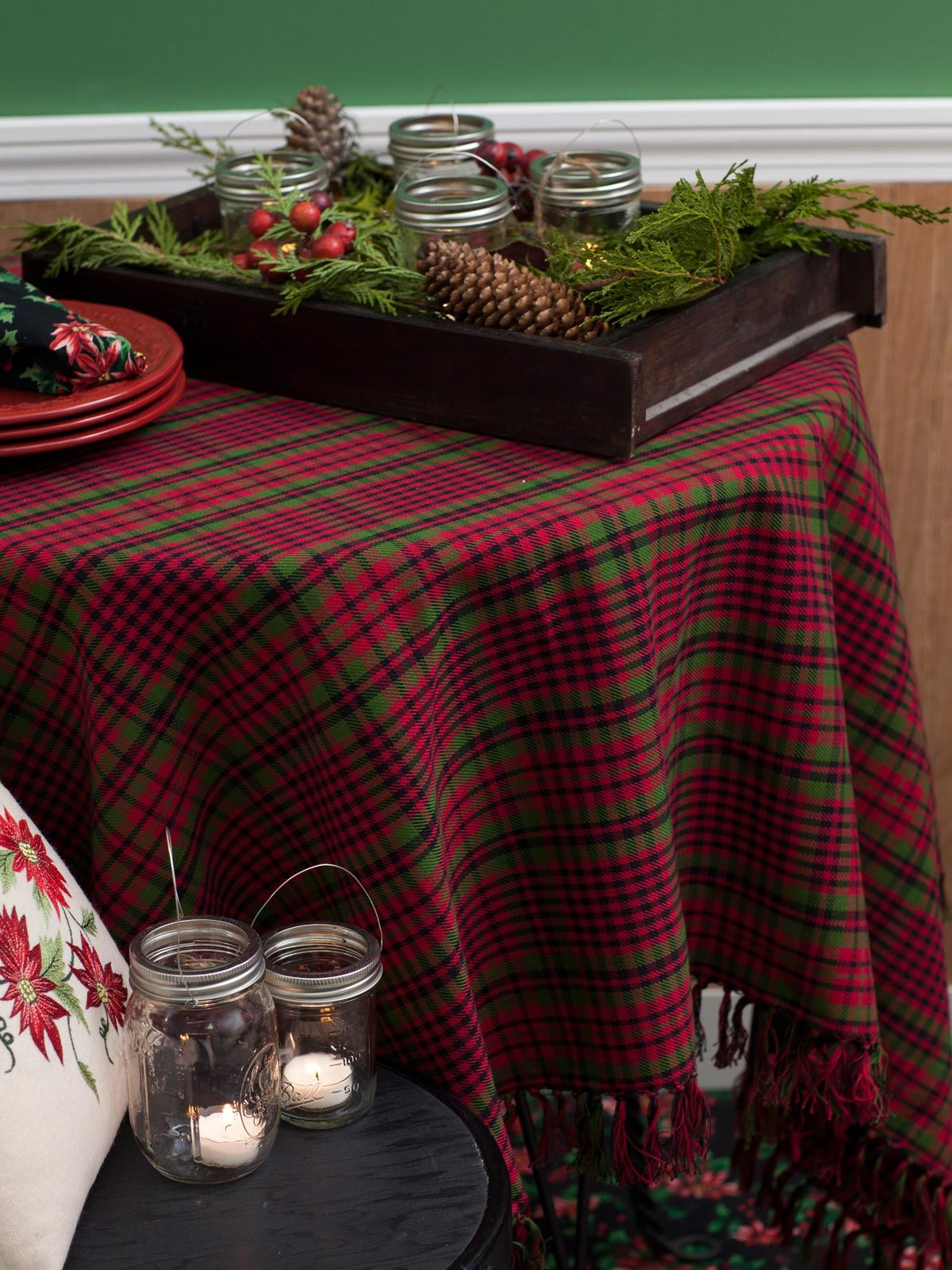 Tartan plaid tablecloth table linens kitchen tablecloths fabulous new signature april cornell clothing kids wear and linens for a beautiful home kitchen tableclothskitchen workwithnaturefo