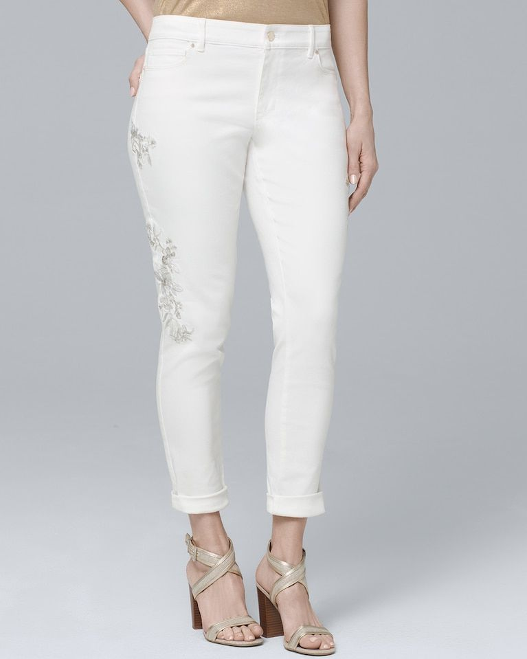 0a2e1b9d28c9c Women's Curvy Embroidered Crop Skinny Jeans by White House Black Market