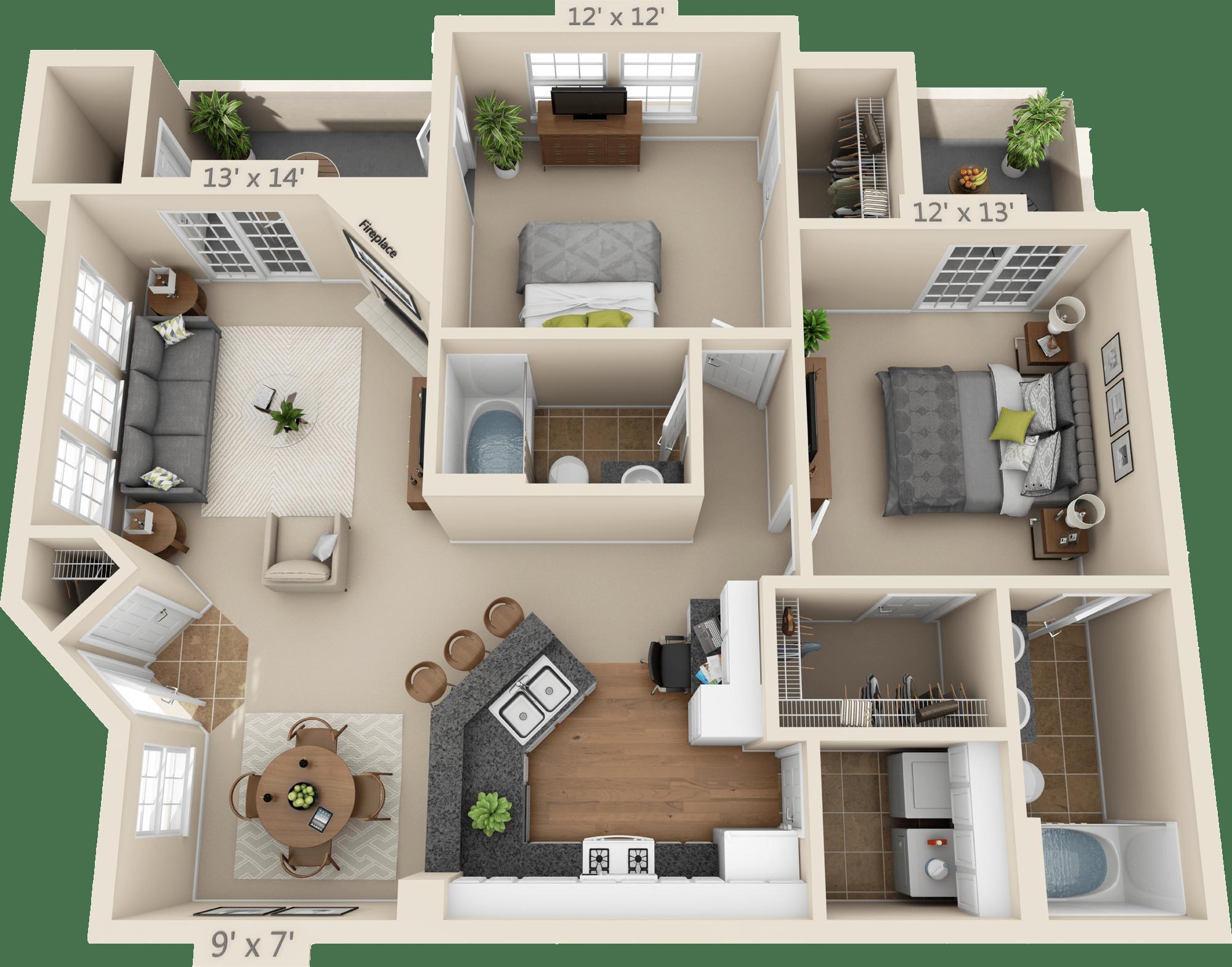 2 Bedroom Floor Plan - Rockford   Sims house plans, Studio ...