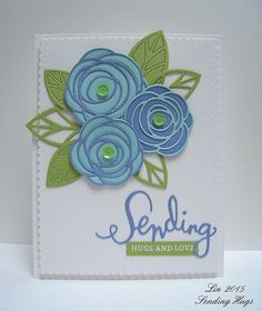 supplies: lavender/blue, aqua, green, and white cardstock, MFT Scribble Roses Overlay dies, leaves from Essentials by Ellen Bold Blossoms dies, Simon's Sending die, sentiment from Hero Arts Prayers stamp set, Winnie & Walter Audrey cutaway, green sequins