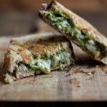 Pistachio-Parsley Pesto and Grilled Taleggio Cheese Sandwich- Chimichurry sauce: jalapenos, green onions, cilantro, garlic, olive oil, lime, honey; avocado, fresh mozzarella, bread