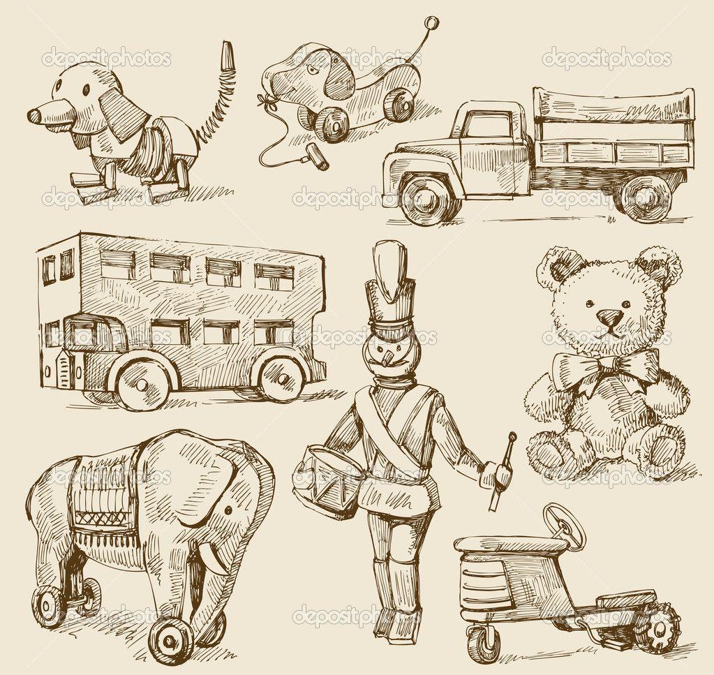 juguetes antiguos Buscar con Google Ilustraciones de
