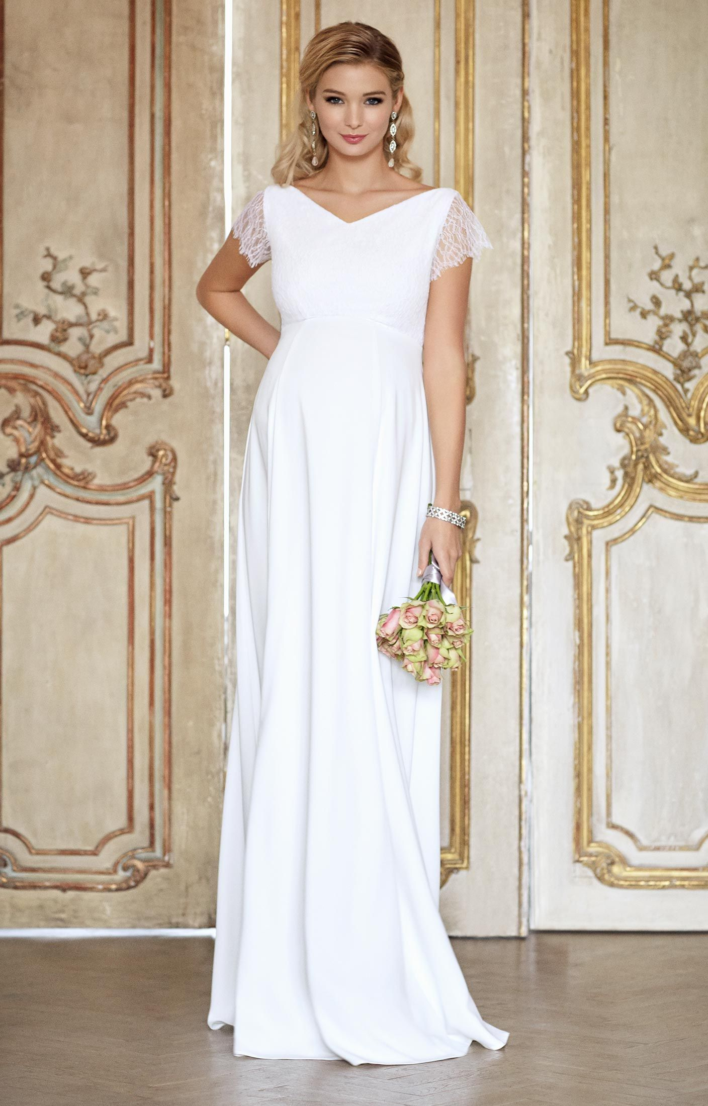 Eleanor Maternity Wedding Gown (Ivory White) - Maternity Wedding