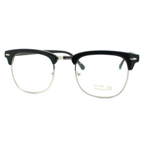 top frame glasses  Black Silver Clear Lens Club Master Half Rim Fashion Eye Glasses ...