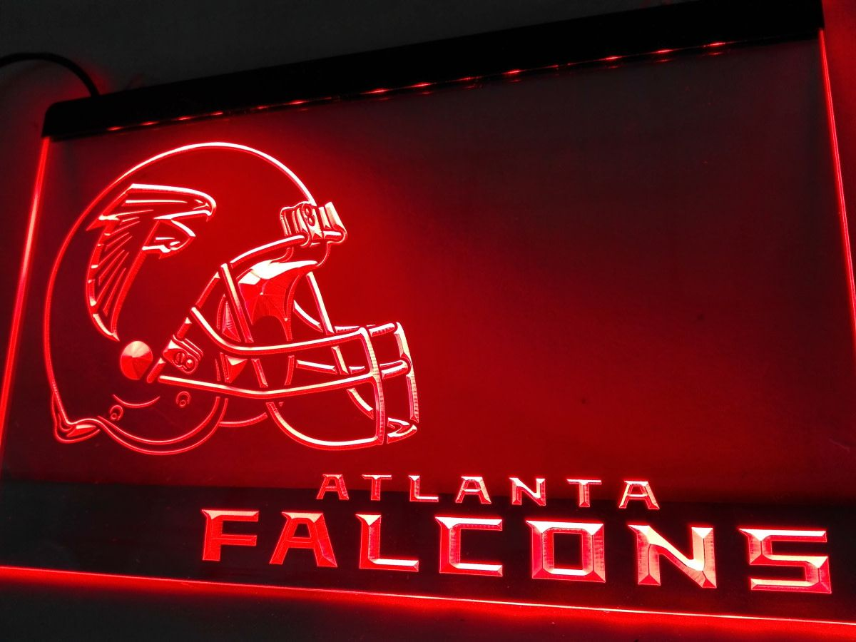 Atlanta Falcons Helmet Led Neon Sign Decor Display Mancave On Off Led Neon Signs Atlanta Falcons Atlanta Falcons Helmet