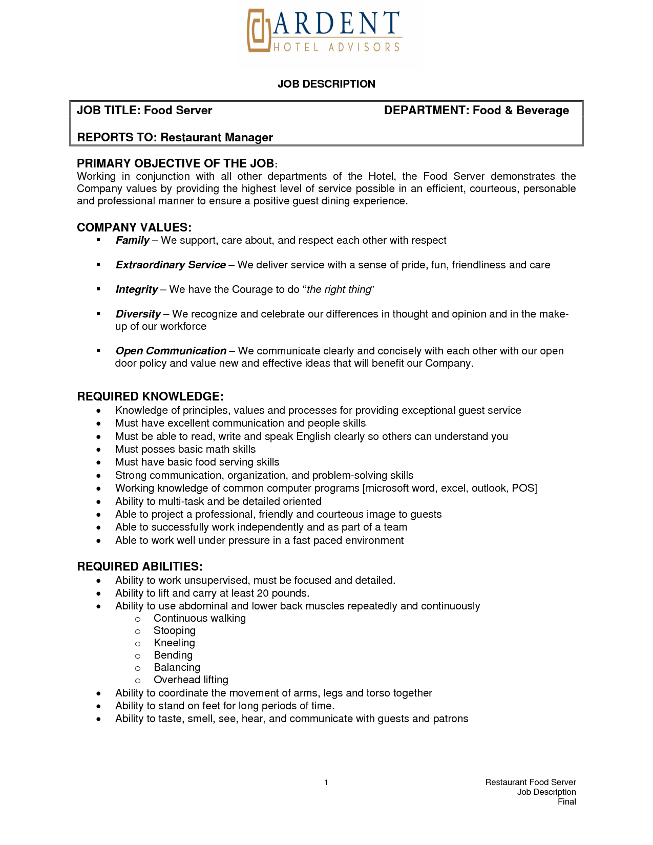 Skills For Job Resume Banquet Server Resume Example  Httpwwwresumecareer