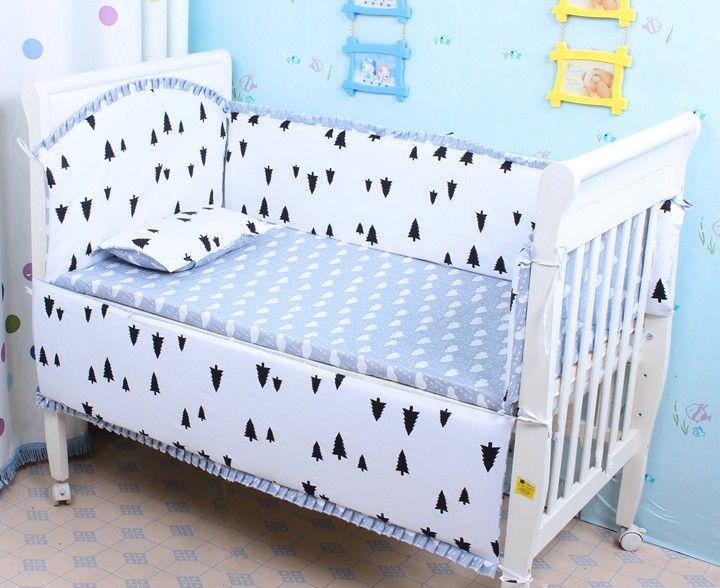 6pcs Crib Bedding Sets Cot Bedding Set Cotton Baby Bed Bumper ,include(