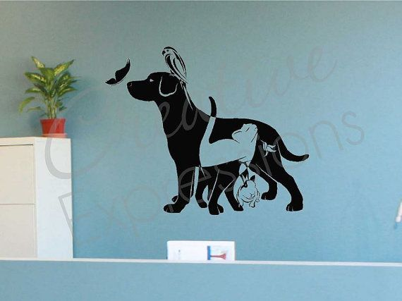 Pets Cat Dog Rabbit Vinyl Wall Decal Mural Home Decor Kids Bedroom Wall Decor Veterinary Kids Bedroom Wall Decals Kids Bedroom Wall Decor Vinyl Wall Decals
