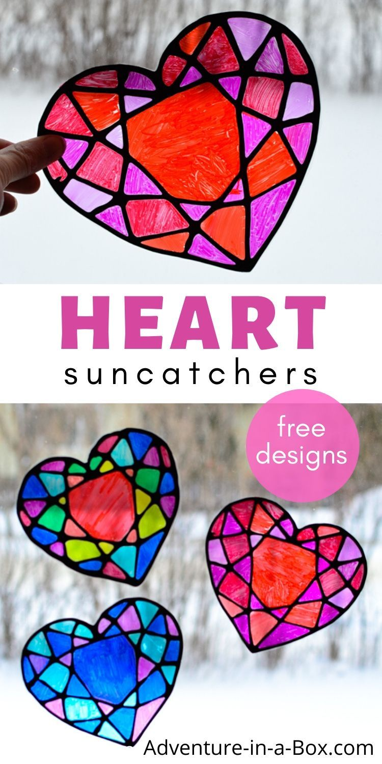Make a stained glass heart suncatcher with kids and decorate your windows for Valentine's Day! Free printable template is included. #kidscrafts #suncatchers #valentinesdays