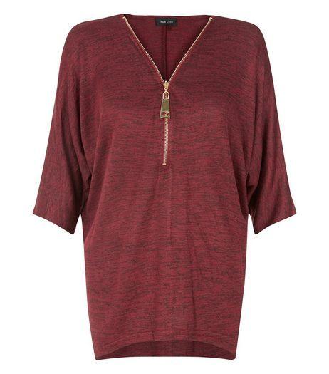 Burgundy Fine Knit Zip Front Top   New Look
