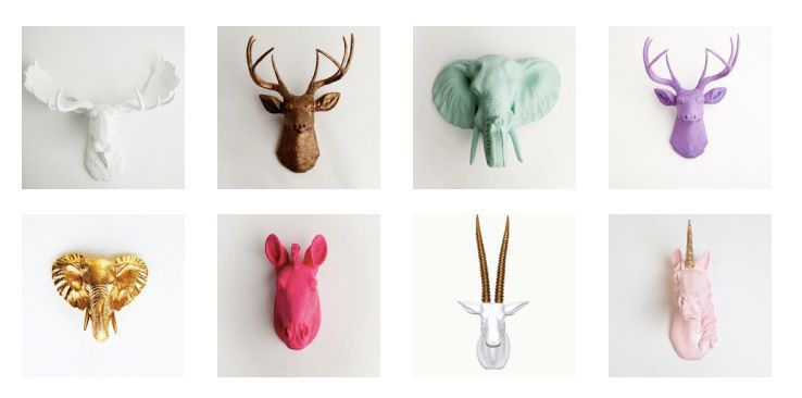 DECORATING WITH FAUX ANIMAL HEADS -> 22crowns.com // White Faux Taxidermy, animal heads, nursery decor, kids bedroom, decor