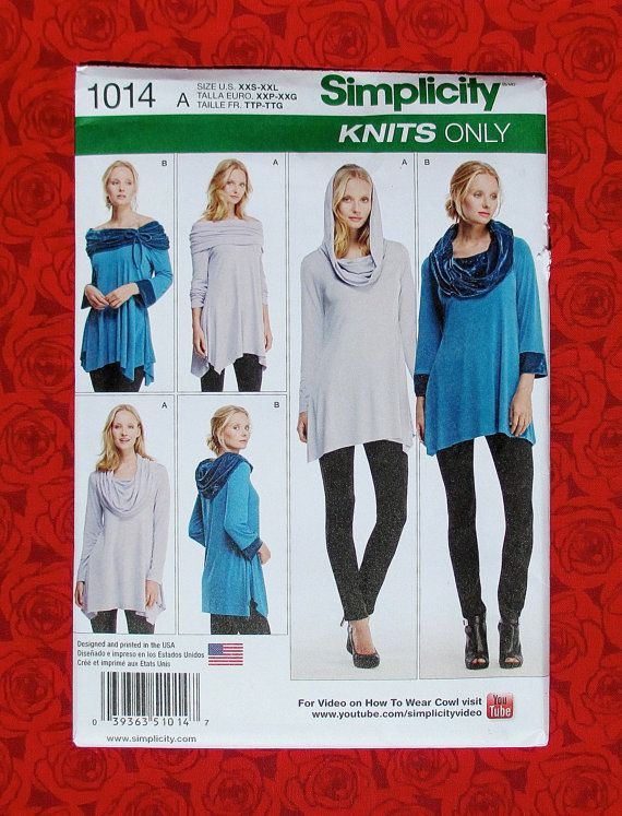 Simplicity Sewing Pattern 1014 Knit Tunic Blouse Tops, Hood Cowl ...