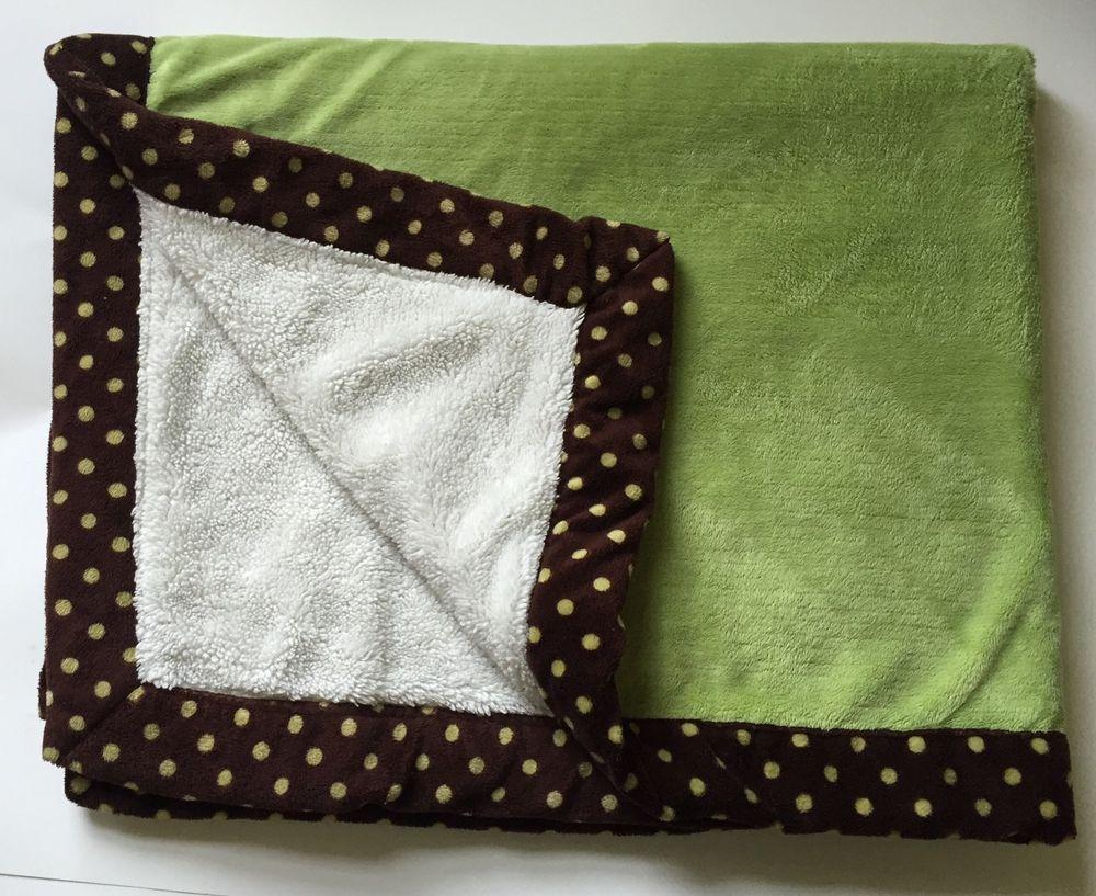 Koala Baby Plush Baby Blanket Green Brown Ivory Polka Dot