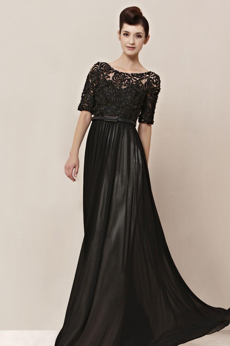 Coniefox Empire Waist Chiffon Black Long Party Dress | Prom Dress ...