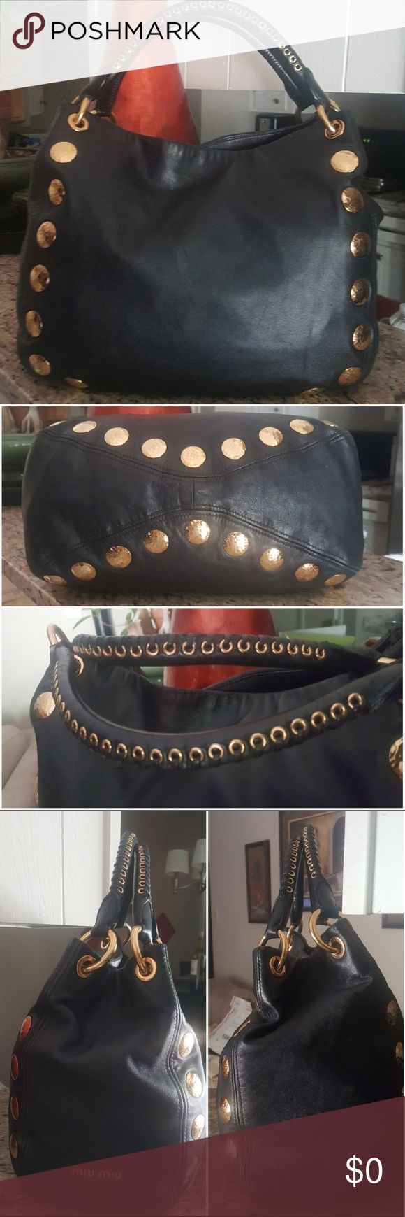 Miu Miu Lambskin Gold Studded Grommet Bag Authentic Miu Miu bag. Just  received this beauty and I love it.😍 Not ready to let it go just yet e1c91f1b833a2