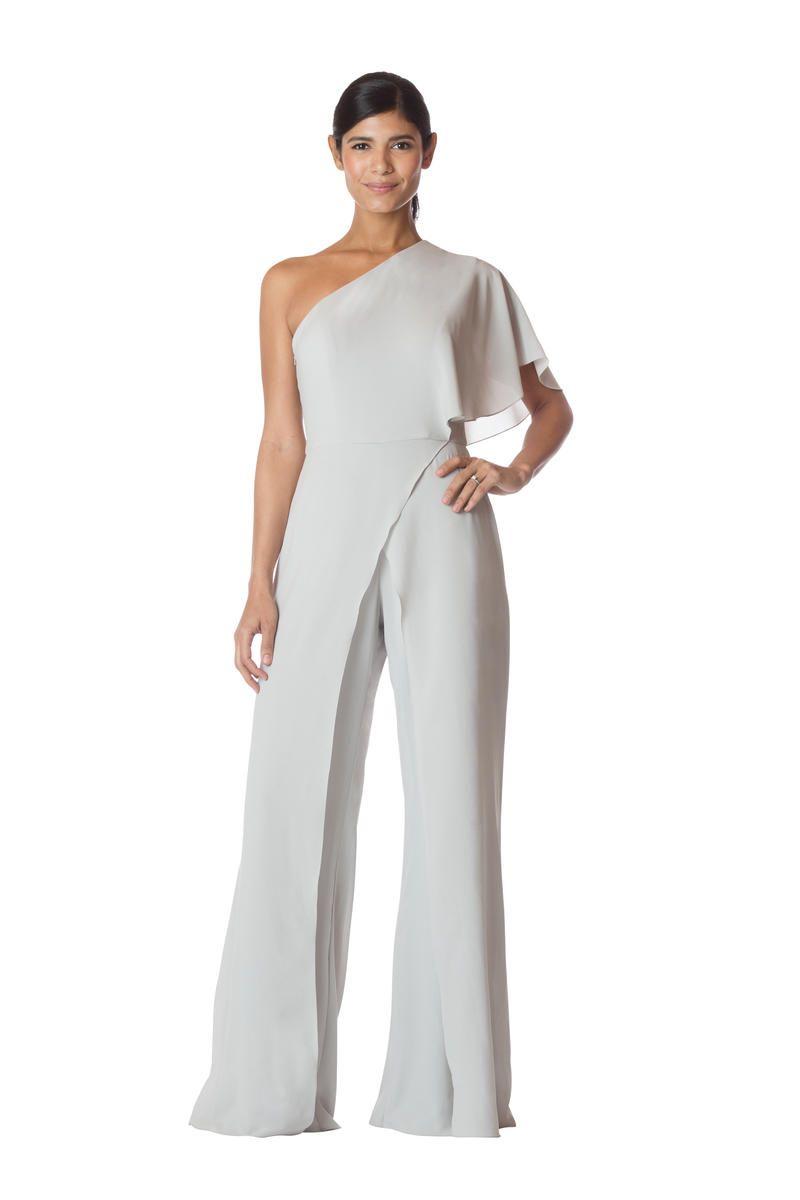 Bari Jay 1765 One Shoulder Draped Bridesmaid Jumpsuit