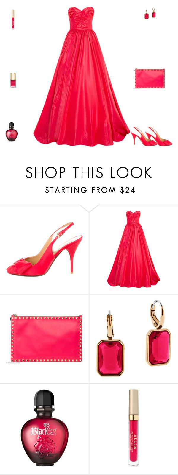 """""""Contest: Shocking Pink Prom Outfit"""" by billsacred ❤ liked on Polyvore featuring Valentino, Oscar de la Renta, Michael Kors, Paco Rabanne, Stila and Dolce&Gabbana"""