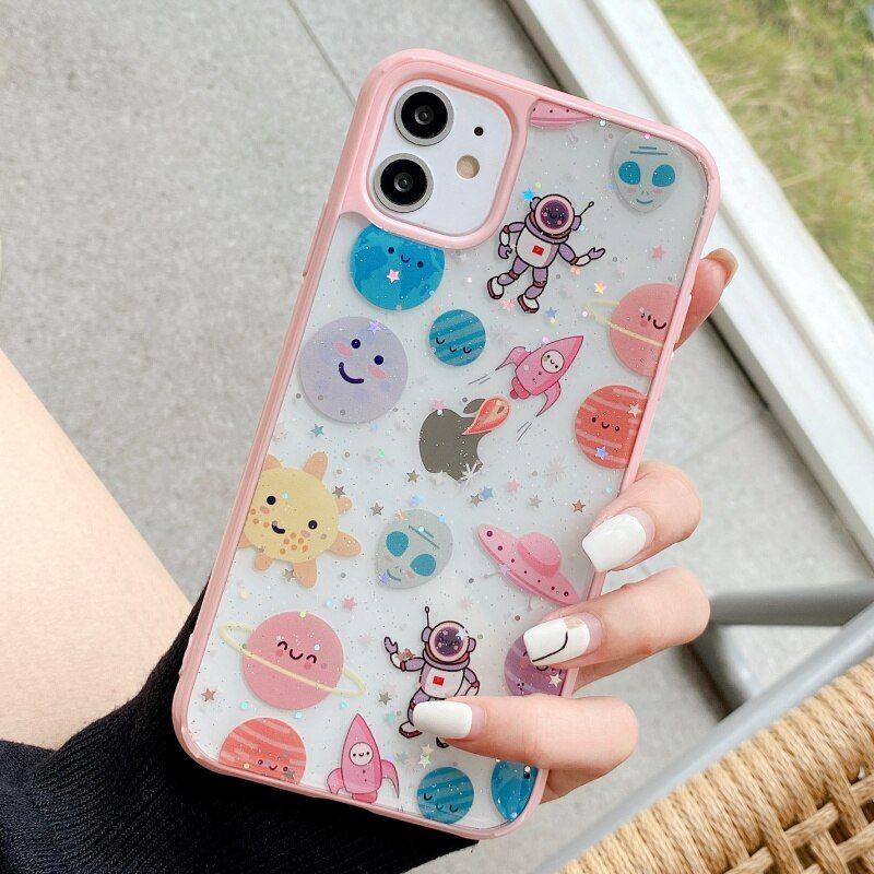 New glitter universe space graffiti phone case for iphone