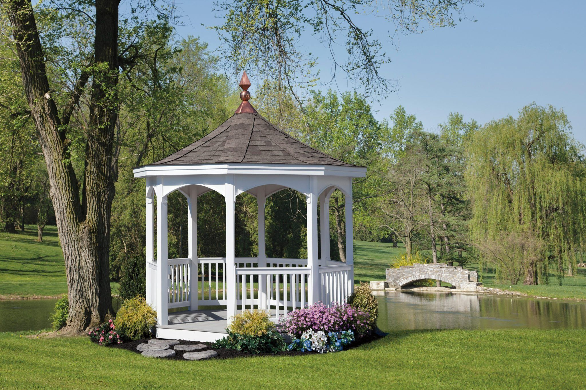 Best White Vinyl Gazebo With Electrical Package And Fossil Wood 400 x 300