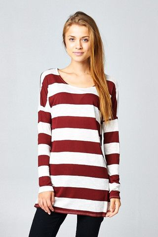Stripe Long Sleeve  Tunic with Elbow Patches