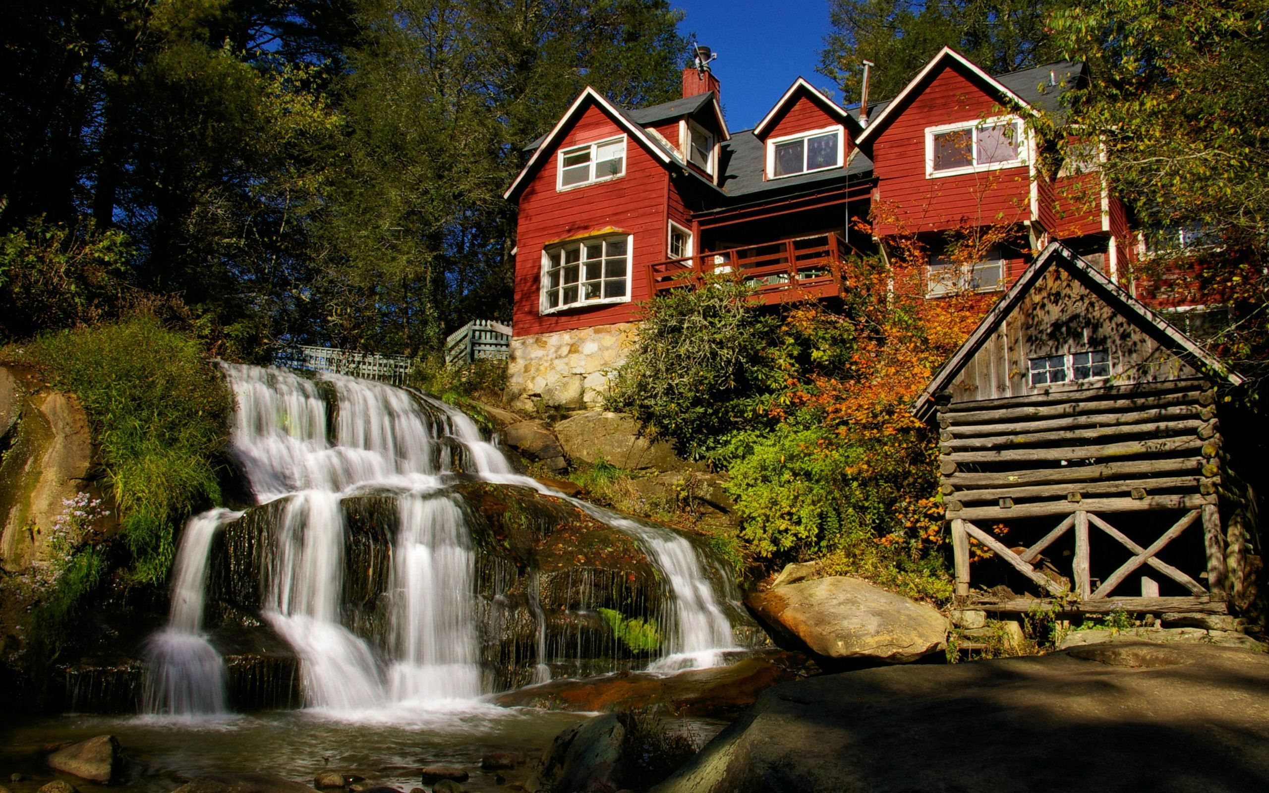 waterfall  architecture  beautiful  beauty  colors  fall  flowers  grass  green  house  houses