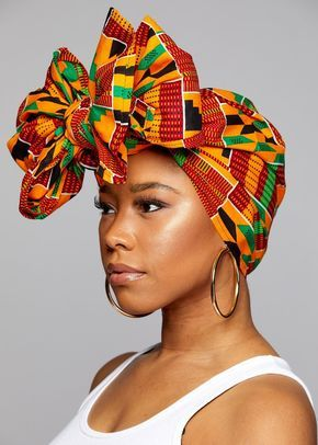 African Print Head Wrap/Scarf (Yellow Green Kente)